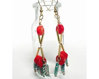 Feather Heart Dangle Earrings