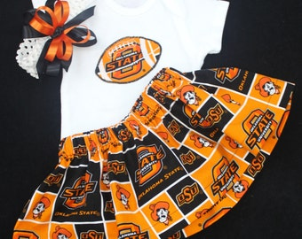 Oklahoma State girl's 3pc bodysuit set