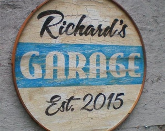 "Personalized Retro Style Garage Sign-14""-single sided"