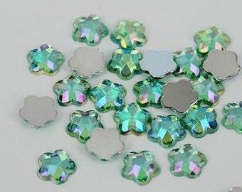 AB Light Green -- 8mm - 50 pcs Resin Flatback Flower Shape Gems