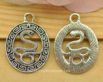 10pcs Antique Silver Snake Charms Pendant 25x34mm Silver Snake Totems Charms Pendant, Snake Jewelry Finding