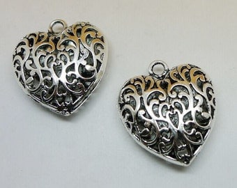 5pcs Heart Charms, 34x36mm Antique Silver Hollow Heart Charms Pendant, Heart Jewelry Charms