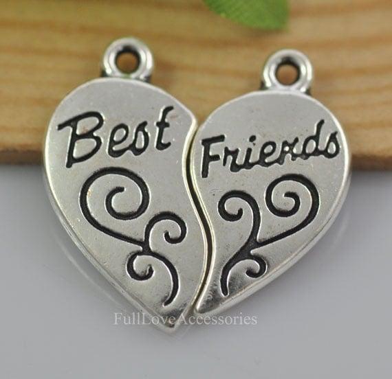 10sets migliori amiche del cuore charms 11x18mm antico for Disegni di due migliori amiche
