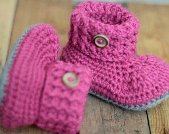 Baby Crochet Booties Pink