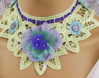 Brooch-Button-Lace STEAMPUNK Choker-Collar,Victorian,Renaissance Collar,Vintage Jewelry-Violet Brooch,Boho Jewelry Choker,Steampunk Wedding