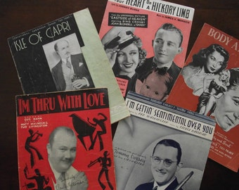 Vintage Sheet Music - Lot of 5 Pieces - 1930s, 1940s