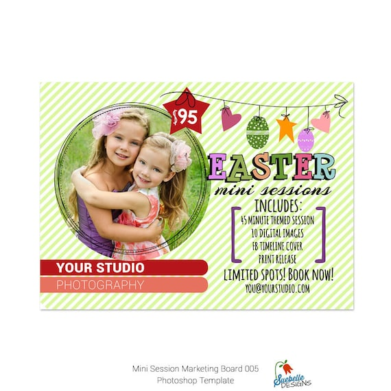 Easter Mini Sessions Template - 5x7 Marketing Board 006 Photoshop Template