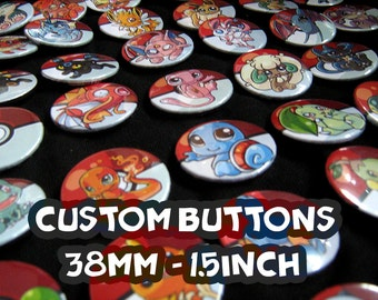 50 custom 38 mm, 1,5 inch Buttons