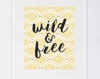Wild and Free Aztec Gold, Digital Printable