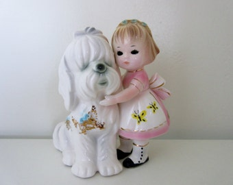 Vintage Josef Originals girl w/Sheep Dog Figurine** Epsteam