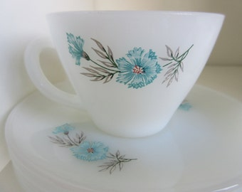 Vintage - Fire King Bonnie Blue  Tea Cups and Saucers Set of  6  1960s**Epsteam