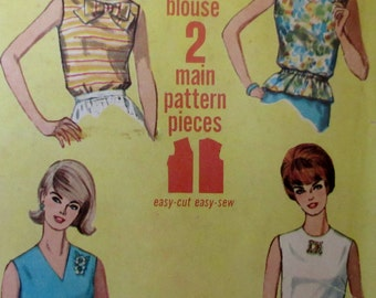 Vintage Simplicity 1965  Misses Jiffy Sleeveless Blouse Sewing Pattern #5932 Size 12 Bust 32 **Epsteam