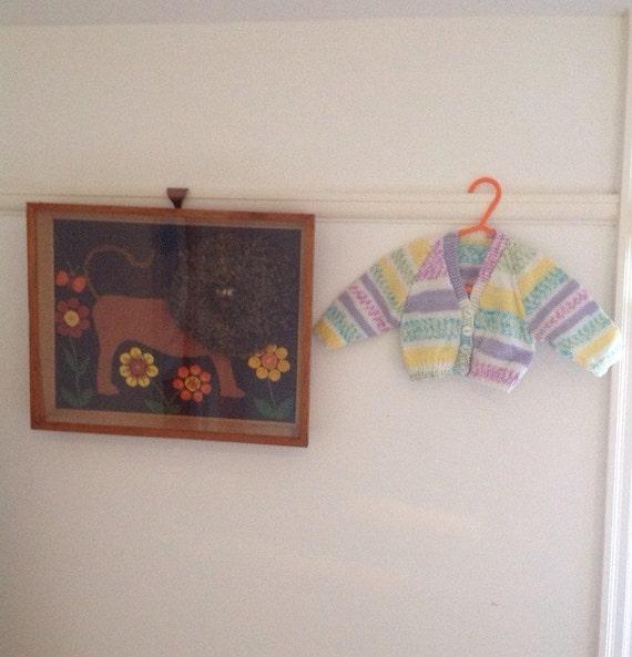 Vintage girls handknit cardigan pastel stripes sweater kids 3 to 6M