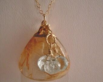 Gold Rutilated Quartz & Aquamarine Necklace
