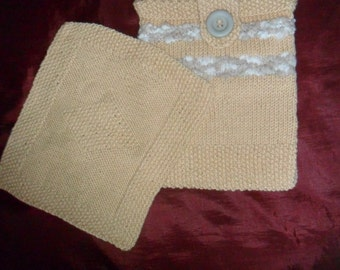 Handmade Knitted Wash bag with Cloth, peach, grey,white, button & tab decoration