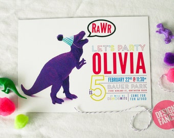 Neon Girl Dinosaur Birthday Invitation