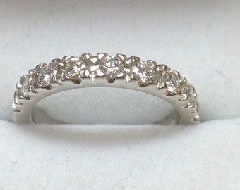 Wedding band 14k white gold eternity ring 0.75 carats diamonds ,size 7 ring9781