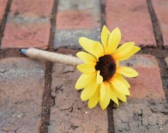 Wedding Guest Book Pen - Rustic Wedding - Shabby Chic Wedding - Wedding Sunflower Pen - Guest Book Pen - Sunflower Wedding - Wedding Sharpie