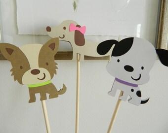 3 Girl Puppy Centerpiece Sticks, Puppy Birthday Party, Dog Birthday Party, Dalmatian, Terrier, Dachshund