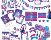 Frozen Birthday Party, Frozen Invitation,  Disney Frozen Party Set, Princess Invitation, Frozen Princess Invite, Anna & Elsa , Digital (F1)