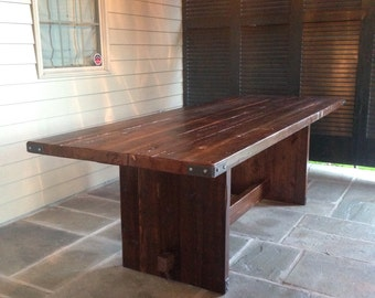 Industrial Reclaimed Trestle Table