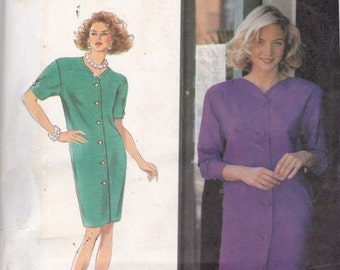Simplicity 7760 Vintage Pattern  Front Button Semi Fitted Dress  Size 12,14,16 UNCUT
