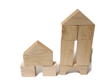 10 Piece Childrens Natural Organic Maple Building Blocks Kids Toy Gift Set - Wooden Blocks - Baby Blocks - Wood Blocks Valentine Toy
