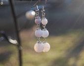 Beaded Earrings Natural White Clear Glass Stone  Beads Dangle Earring Handmade