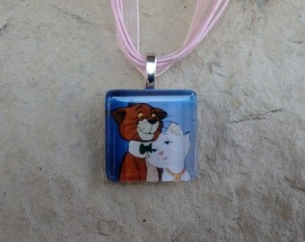 Disney Animals Collection Thomas O'Malley and Duchess from The Aristocats Glass Pendant and Ribbon Necklace
