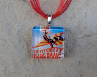 Broadway Musical Chitty Chitty Bang Bang Glass Pendant and Ribbon Necklace
