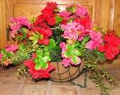 Valentines Day Pink and Red Silk Azaleas Hanging Basket