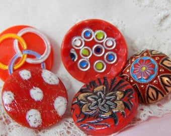 Painted Red Glass Buttons - 5 Designs