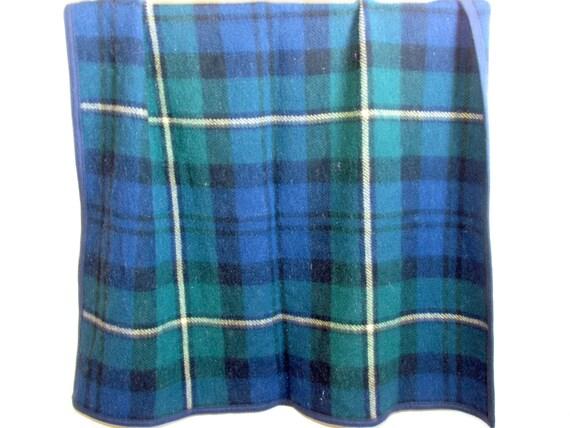 Vintage pendleton wool throw blanket in emerald green and - Emerald green throw blanket ...