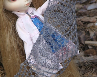knitted  grey lace shawl for Blythe Pullip