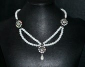 Swarovski Crystal and Pearl Flower Statement Necklace