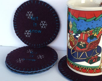 Let it Snow wool coaster set, mug rug - upcycled from a maroon and blue wool sweater