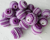 "Crochet beads 5 PCS 20 mm 3/4"" dark purple melange beads Wooden crochet cotton beads / crocheted bead / round beads"