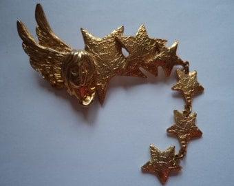 Vintage Signed Ultra Craft Goldtone Angel and Shooting Star Dangler Brooch/Pin
