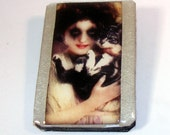 Vampire with her Cat, Zombie, Wood Brooch, Wooden Brooch, Pearlescent Metallic Silver Background, Glazed, Pin, Clasp