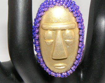 GOLD Polymer Clay Tribal Face Ring, Plum Seed Bead Setting, Gold Tarnish Resistant Wire Wrapped Band, Sz 6.5
