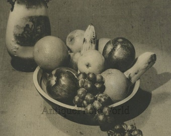 Vase with fruit antique still life art photo