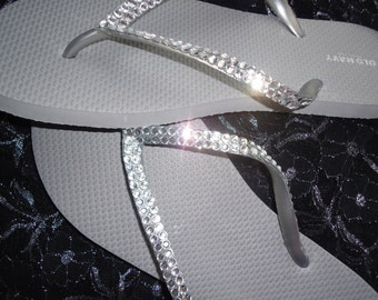 Crystal Covered Wedding Flip Flops-Clear Crystals