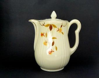 Hall Coffee Pot, Autumn Leaf Coffee Pot, Hall Superior Products, Mid Century Kitchen Coffee Pot, Gilt Trim, Full Size