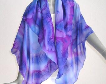 Hand Painted Silk, Large Square Scarf, Purple Periwinkle, Purple Pink Scarf, Unique Silk Scarf, One of a Kind, Artist Handmade, Jossiani.