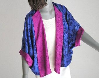 Soft Silk Jacket, Hand Painted Jacket, Unique Silk Jacket, Bolero Jacket, Blue Ink Magenta Black, One of a Kind, Jossiani - ready to ship