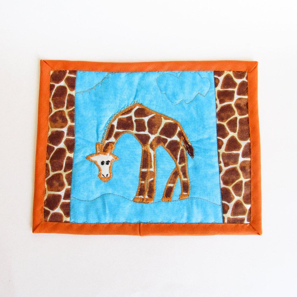 Quilted Giraffe Mug Rug Mini Whimsical By JasminesTreasuresLLC