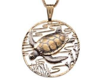 Sea Turtle Pendant and Necklace , Hand Cut Sea Turtle Medallion, ( # 587 )