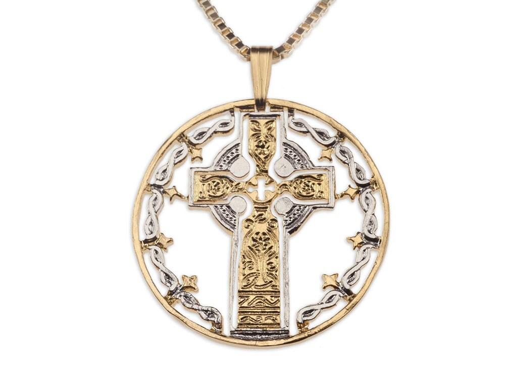 celtic cross pendant necklace hand cut medallion 776. Black Bedroom Furniture Sets. Home Design Ideas