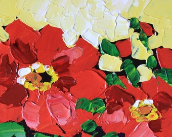Red flowers 6x6 Floral painting small original acrylic on panel palette knife green yellow impressionist still life fine art - Cristina Jacó