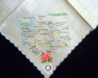 Klauber Washinton State Souvenir Handkerchief